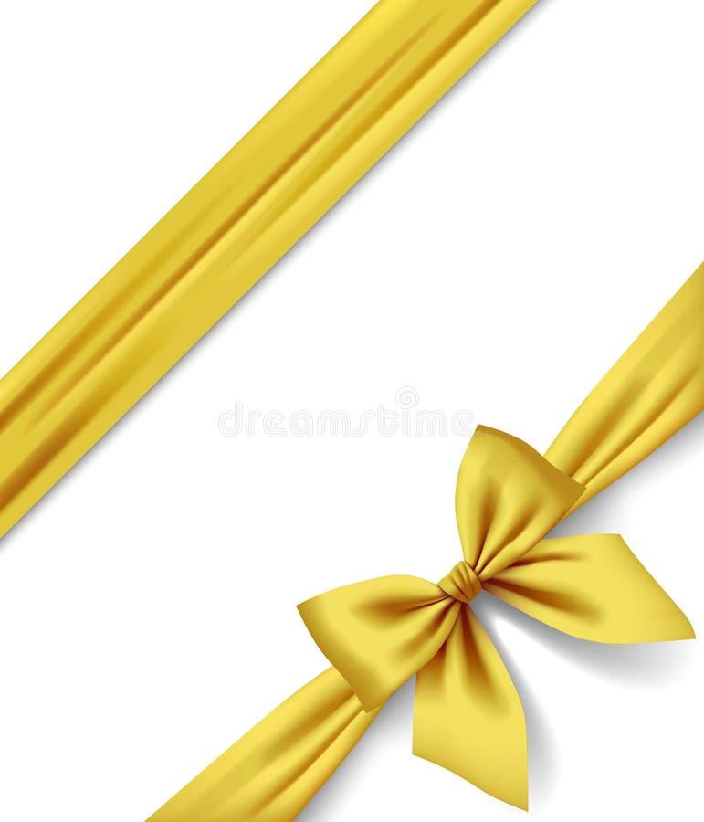 Тесемка и смычок золота изолированные на белой предпосылке иллюстрация вектора