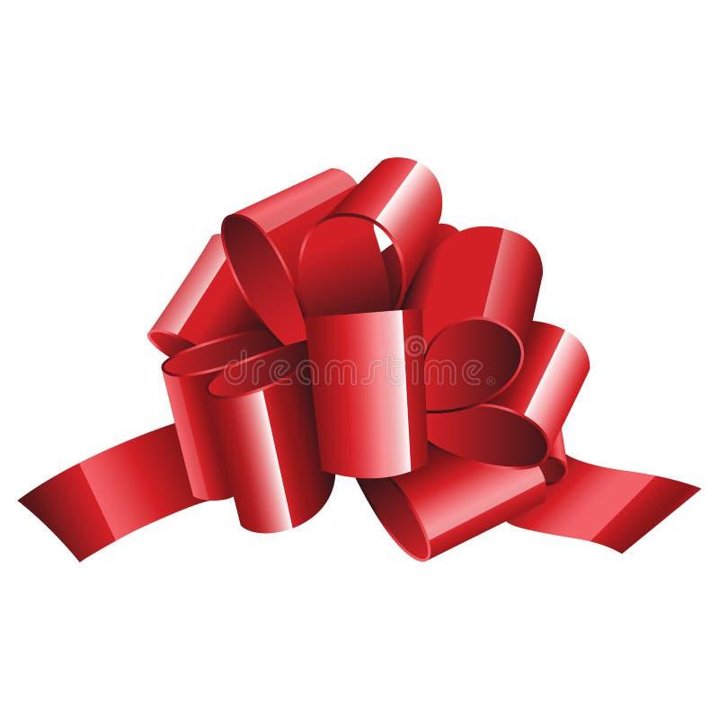 Тесемка и смычок подарка красная изолированные на белизне бесплатная иллюстрация