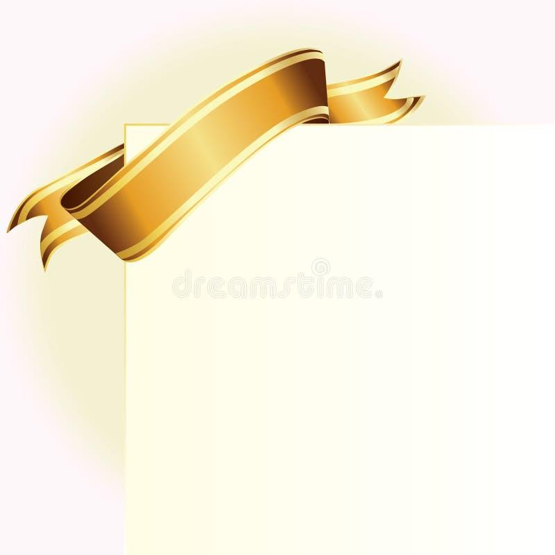 тесемка карточки золотистая иллюстрация штока