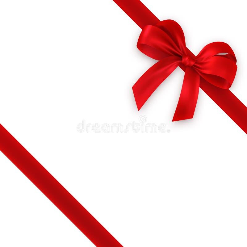 тесемка красного цвета подарка смычка иллюстрация вектора