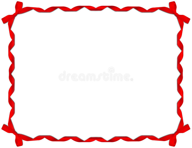 тесемка красного цвета рамки смычка иллюстрация штока