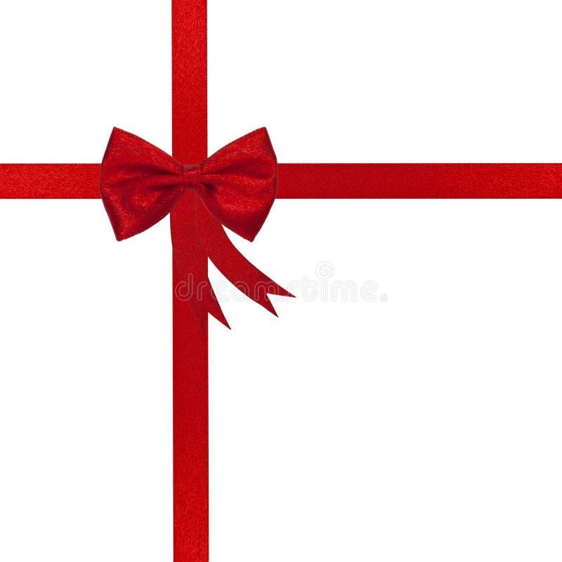 тесемка красного цвета рождества смычка стоковое фото