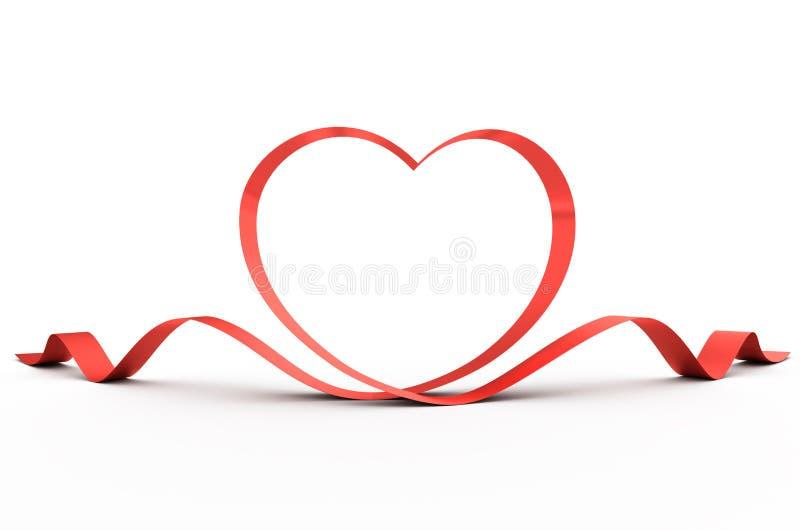 тесемка красного цвета сердца иллюстрация вектора