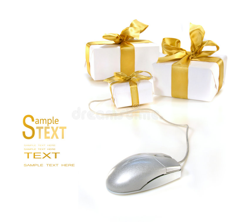 тесемка мыши золота подарков компьютера стоковая фотография