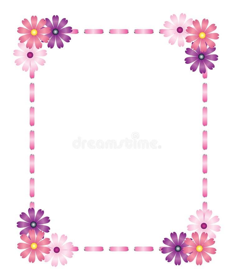 тесемка пинка рамки цветков иллюстрация вектора