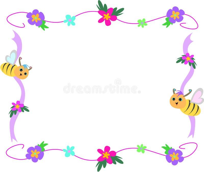 тесемка рамки цветка пчелы иллюстрация вектора