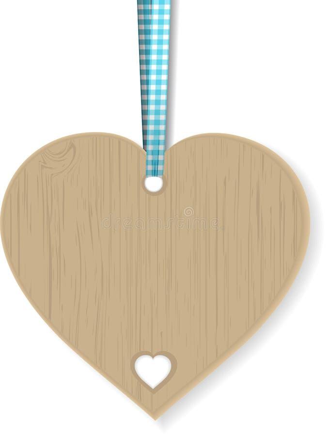 тесемка сердца деревянная иллюстрация вектора