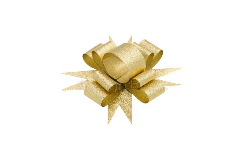 тесемка смычка золотистая изолированная стоковое изображение rf