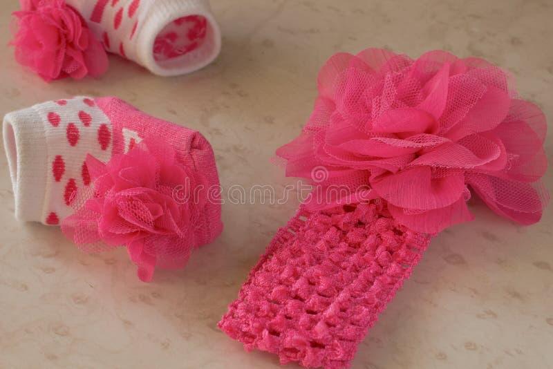 тесемка смычка розовая Носки с точками польки стоковые изображения rf