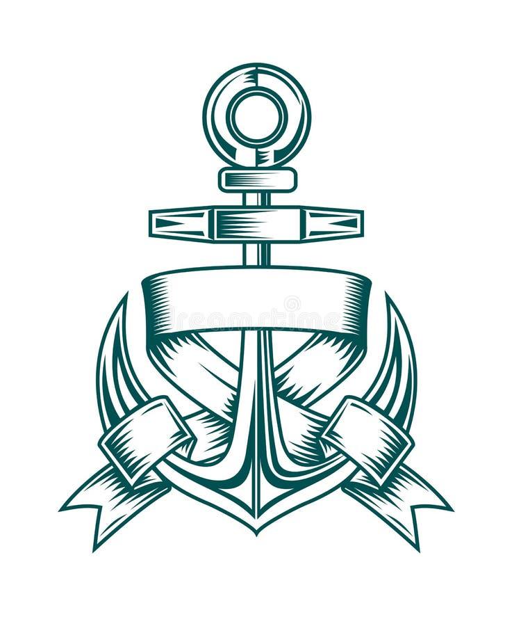тесемки анкера heraldic иллюстрация штока