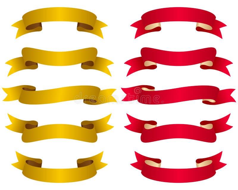 тесемки золота красные установили иллюстрация вектора