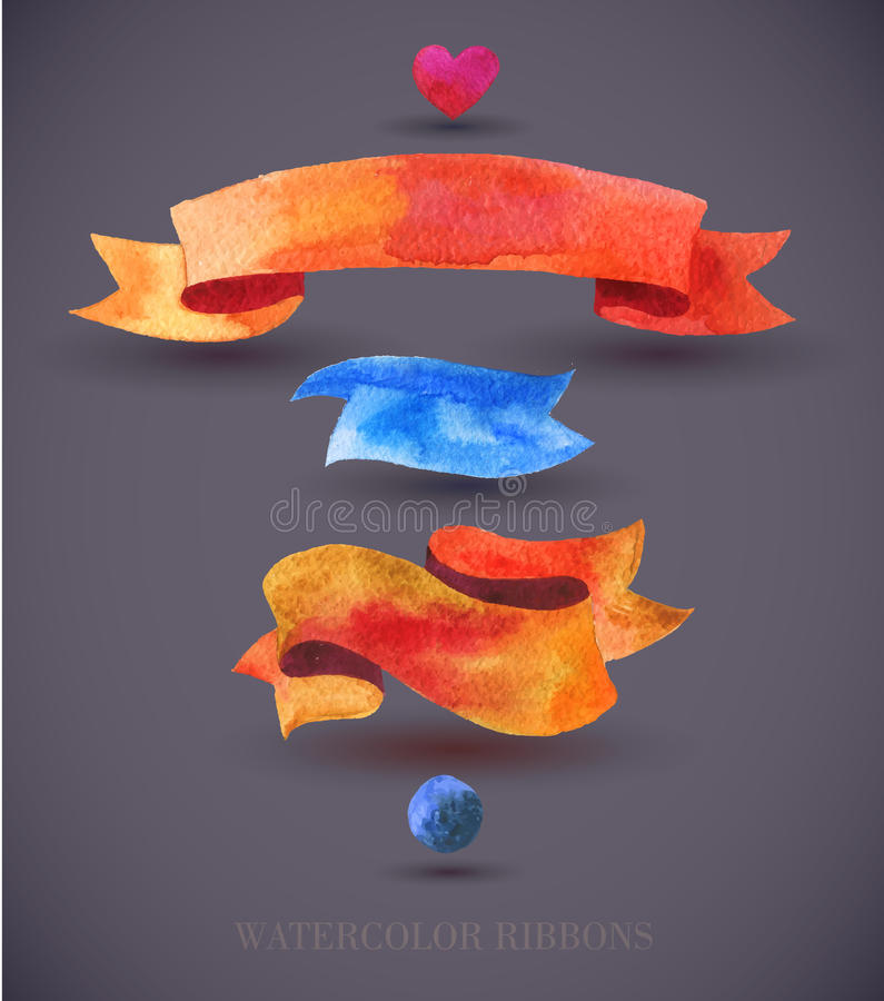 Тесемки и знамена акварелей Собрание элементов дизайна акварели, предпосылок, ярлыков, пузыря, ленты с тенью Рука d иллюстрация вектора