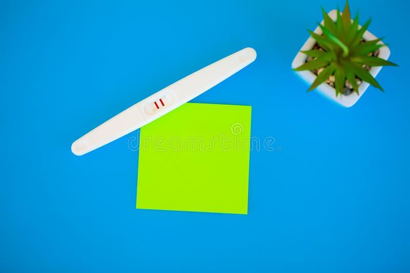 Тест на беременность результат положителен с 2 прокладками Обработка неплодородности с пилюльками, помощи в понимать ребенка стоковая фотография rf
