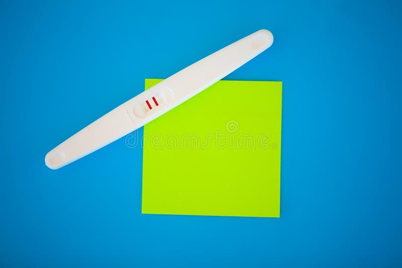 Тест на беременность результат положителен с 2 прокладками Обработка неплодородности с пилюльками, помощи в понимать ребенка стоковая фотография