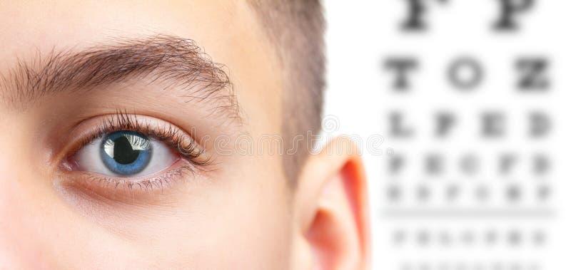 Тест офтальмологии зрения глаза и здоровье зрения, видимость медицины стоковые изображения rf