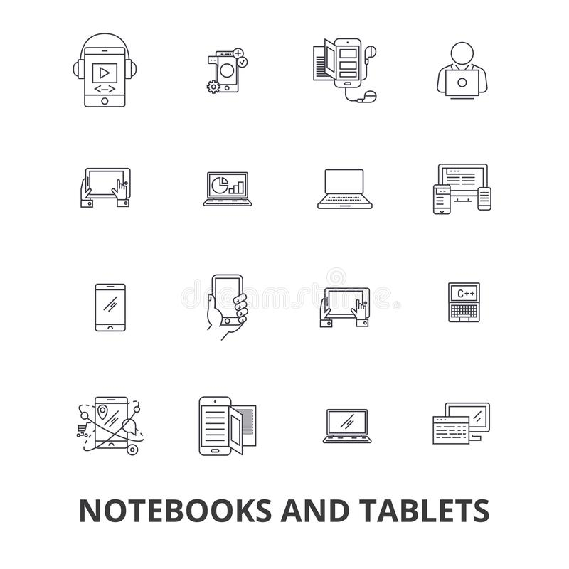 Тетради и таблетки, компьтер-книжка, экран, блокнот, компьютер, устройство, линия значки ПК Editable ходы Плоский вектор дизайна бесплатная иллюстрация
