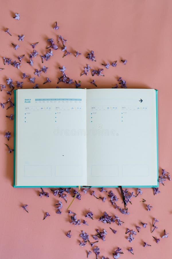 Тетрадь дела с цветками сирени на розовой предпосылке стоковые изображения rf