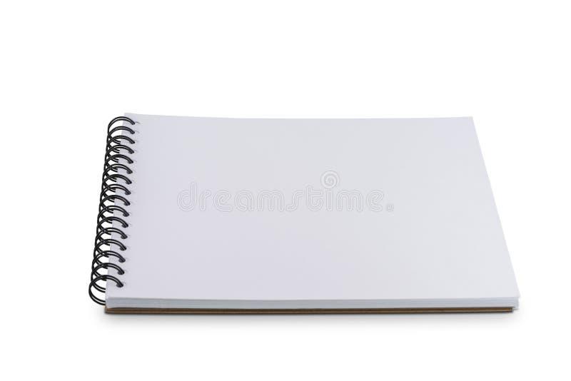 Тетрадь или sketchbook пустой страницы изолированные на белой предпосылке стоковое изображение