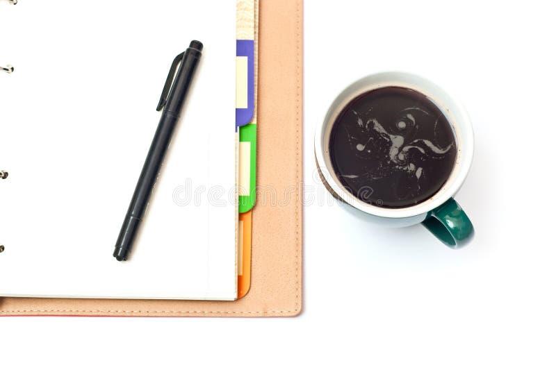 тетрадь кофе стоковая фотография