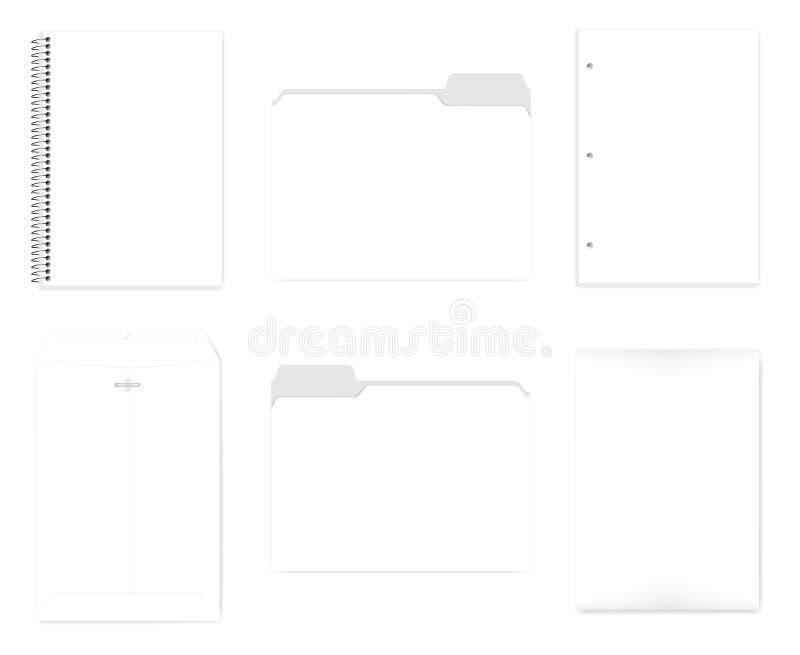 Тетрадь, папка файла, отверстие пробитая бумага, охватывает - насмешку комплекта A4 иллюстрация вектора