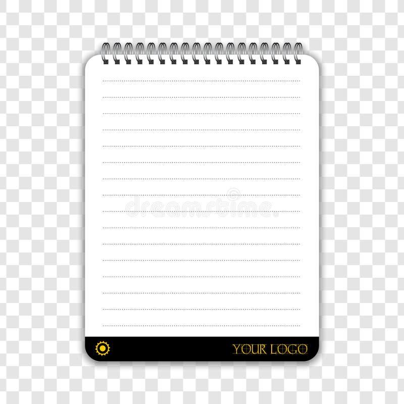 Тетрадь с местом для вашего логотипа, детали текста или фирменного стиля Пустая насмешка вверх изолированная на прозрачной предпо иллюстрация вектора