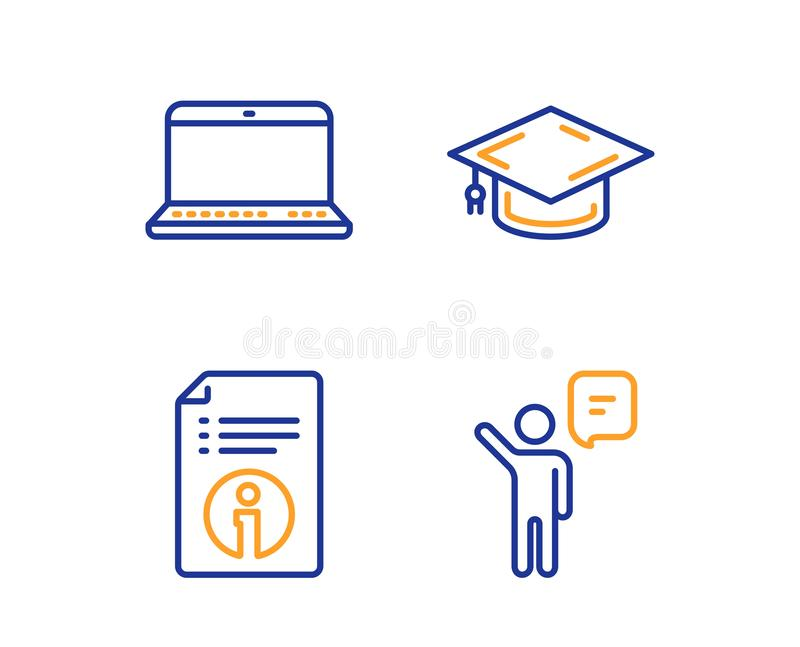 Тетрадь, техническая информация и крышка градации набор значков Знак агента Ноутбук, документация, университет r иллюстрация вектора
