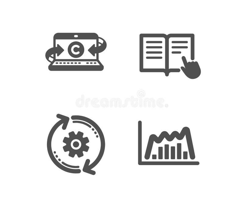 Тетрадь Copywriting, прочитала инструкцию и значки Cogwheel Знак диаграммы Infographic r иллюстрация вектора