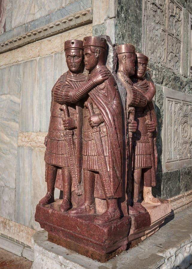 Тетрархи - скульптура порфиры 4 римских императоров стоковые изображения rf
