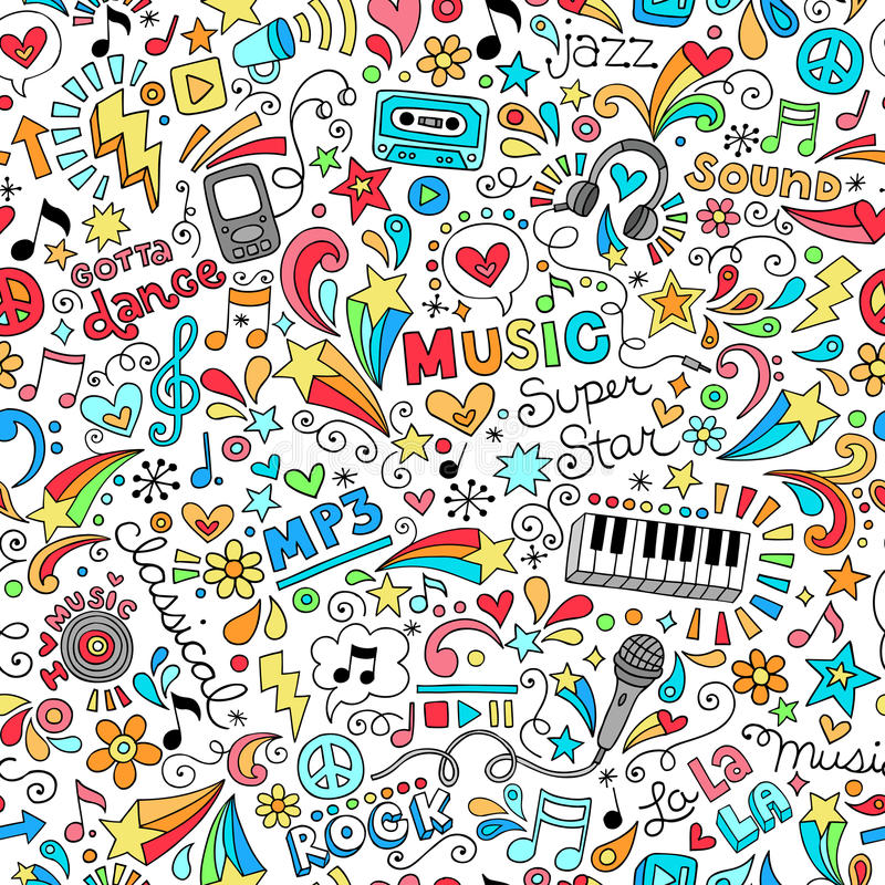 Тетрадь картины музыки безшовная Doodles больноой вектора иллюстрация вектора