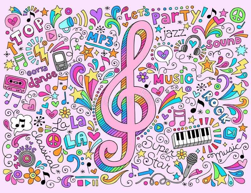 Тетрадь примечаний музыки G-ключа шпунтовая Doodles вектор иллюстрация вектора