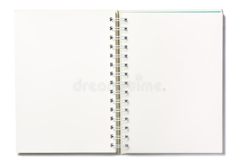 Тетрадь пустой страницы в белой предпосылке стоковая фотография rf