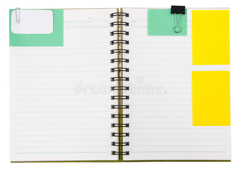 Download Тетрадь с notepaper стоковое фото. изображение насчитывающей дневник - 33736462