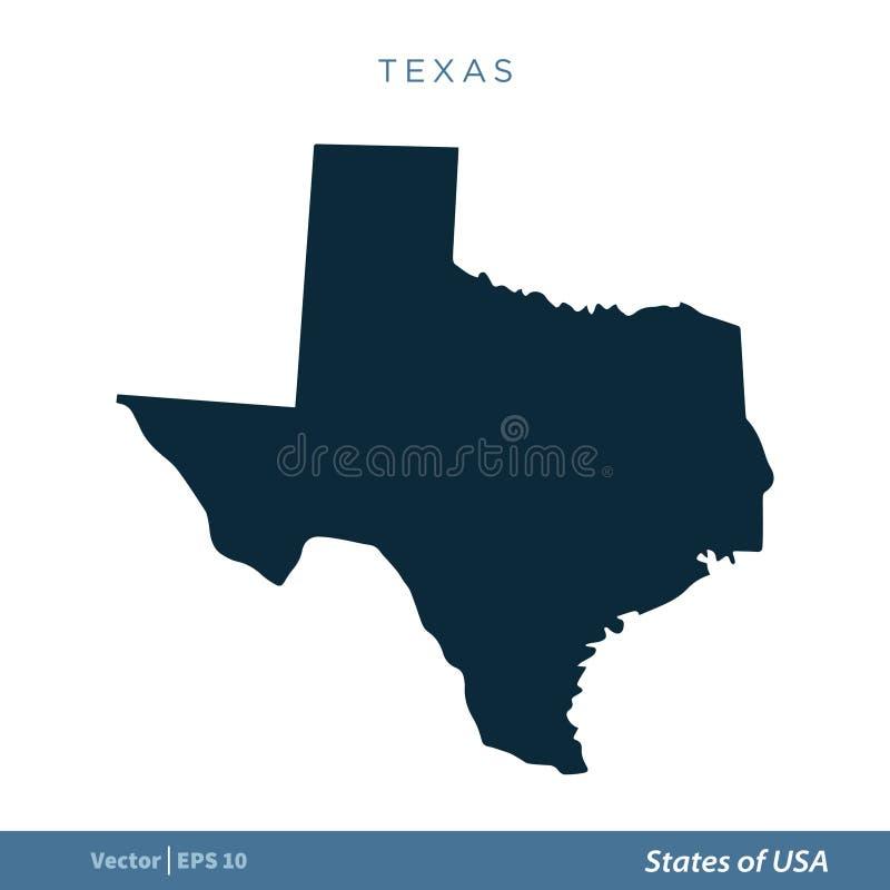 Техас - государства дизайна иллюстрации шаблона вектора значка карты США r иллюстрация вектора