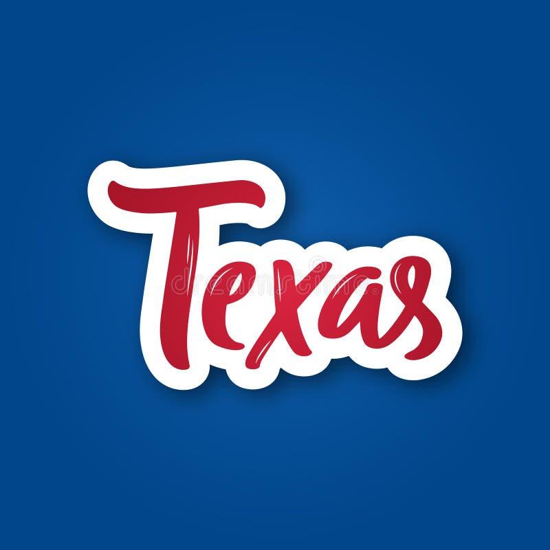 Техас - нарисованная рука помечающ буквами фразу Стикер с литерностью в стиле отрезка бумаги иллюстрация штока