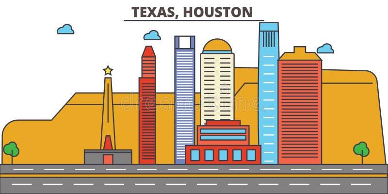 Техас, Хьюстон вектор горизонта конструкции города предпосылки ваш бесплатная иллюстрация