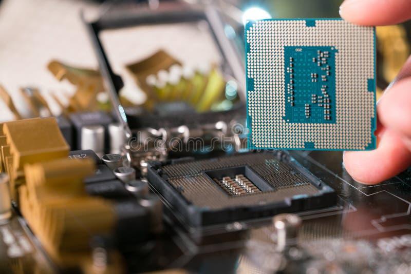 Техник затыкает внутри микропроцессор C.P.U. к гнезду материнской платы стоковые фото