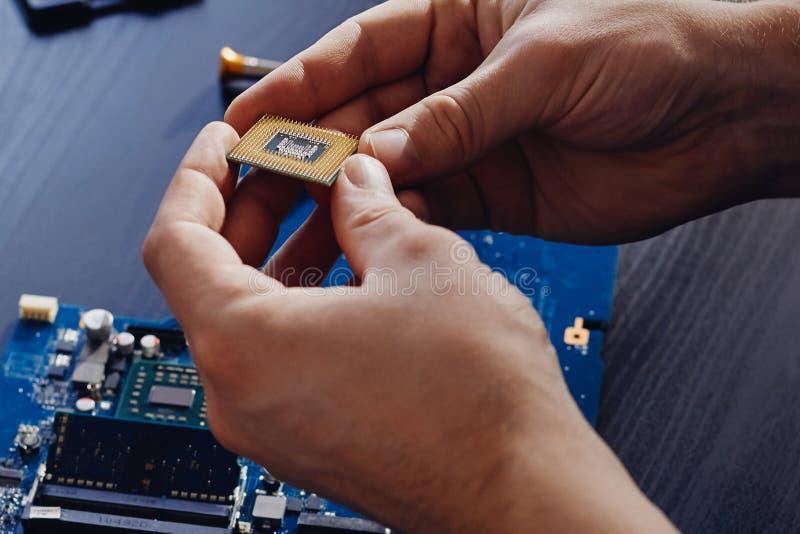 Техник затыкает внутри микропроцессор C.P.U. к материнской плате компьютера стоковые изображения rf