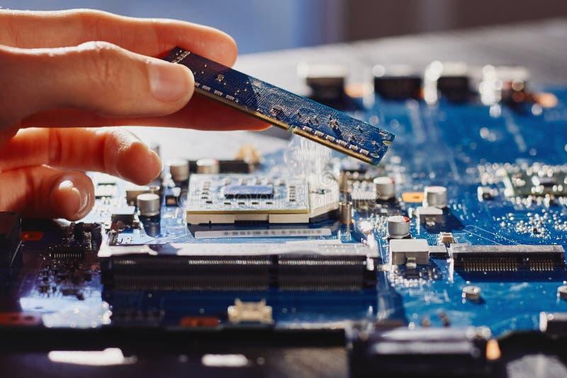 Техник затыкает внутри память к материнской плате компьютера стоковое изображение rf
