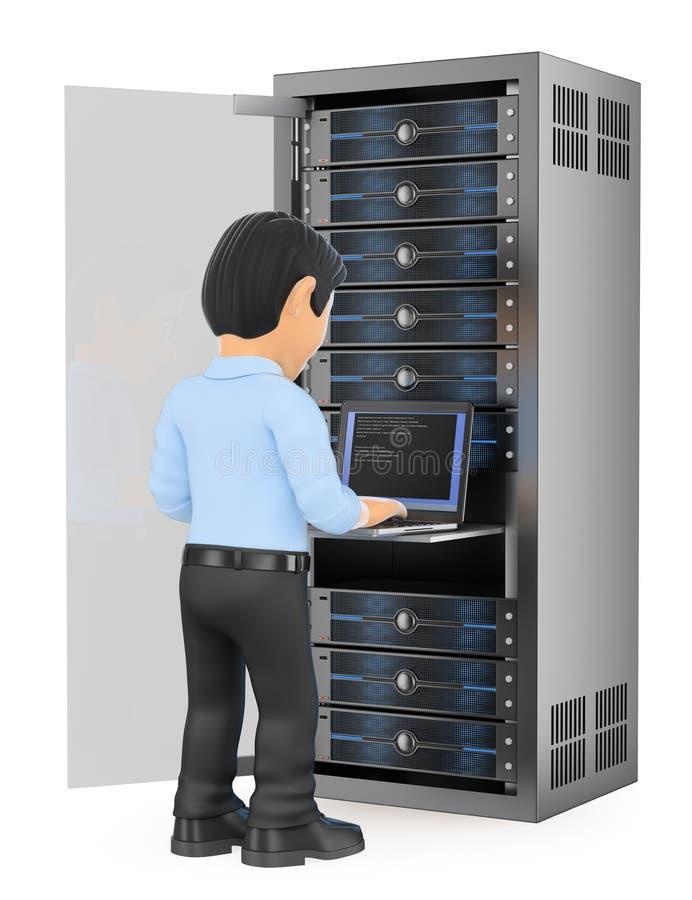 техник информационной технологии 3D работая в ser сети шкафа иллюстрация вектора