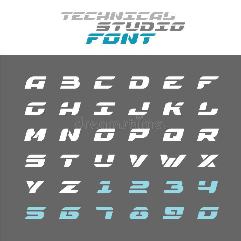 Техник помечает буквами шрифт восковки Широкий алфавит techno иллюстрация штока