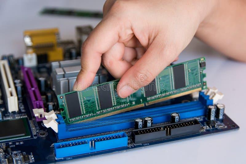 Техник устанавливая ручку RAM (оперативное запоминающее устройство) к гнезду стоковое изображение