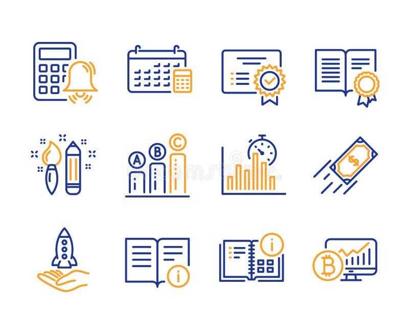 Техническая информация, данные по Crowdfunding и инструкции набор значков Знаки сигнала тревоги диплома, календаря и калькулятора бесплатная иллюстрация