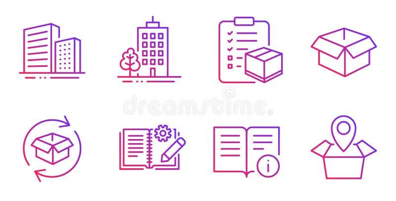 Техническая информация, здания небоскреба и возвращенный набор значков пакета r иллюстрация штока