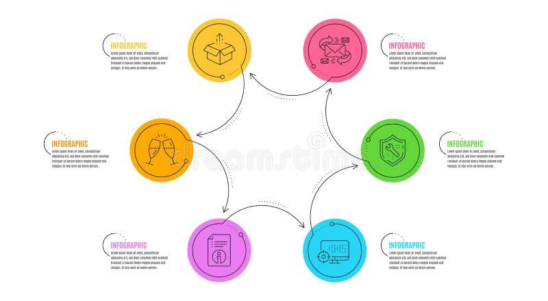 Техническая информация, значки Seo и гаечного ключа набор Отправьте знаки коробки, стекел электронной почты и Шампань r иллюстрация штока