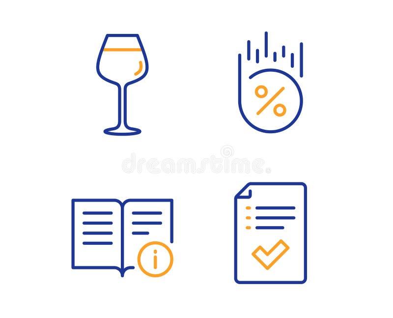 Техническая информация, проценты займа и значки Бордо стеклянный набор Одобренный знак контрольного списока r иллюстрация вектора