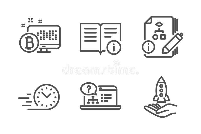Техническая информация, система алгоритма и Bitcoin набор значков Интерактивная справка, быстрая доставка и знаки Crowdfunding ве иллюстрация вектора