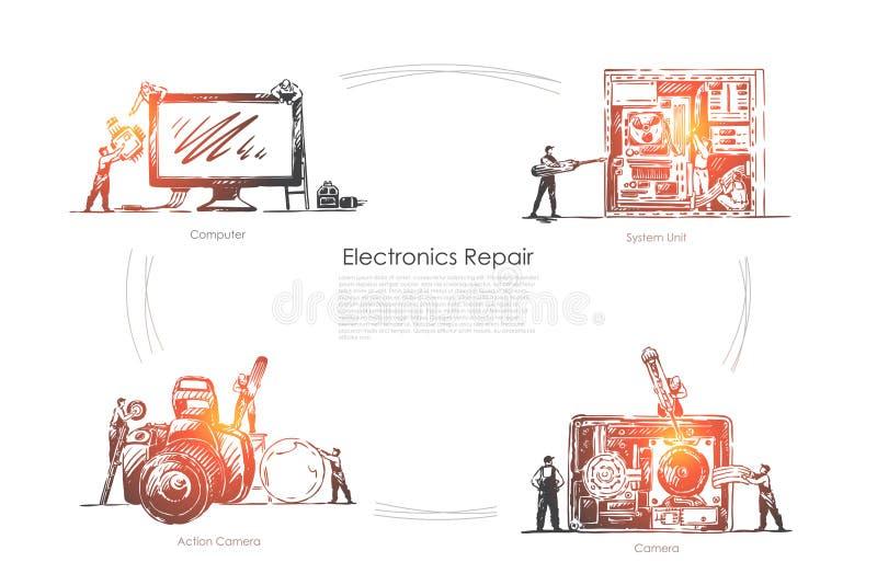 Техническая мастерская оборудования, компьютер, системный блок и действие крошечных людей фиксируя шаблон знамени камеры иллюстрация вектора