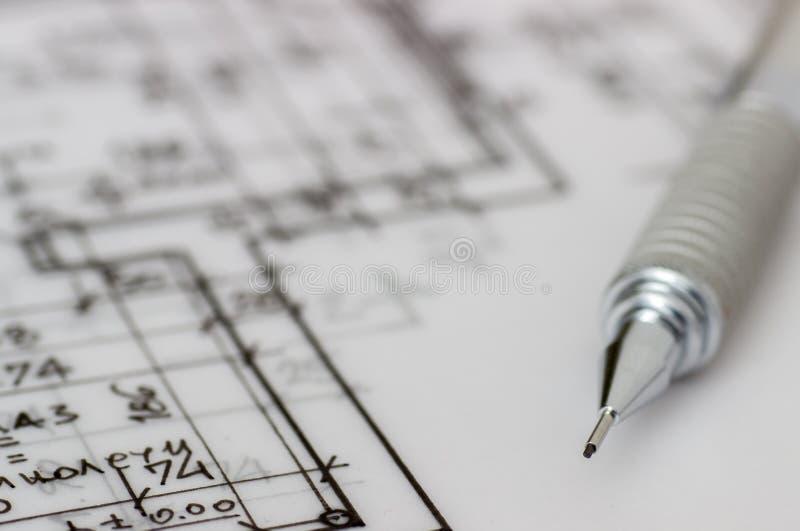 Техническая ручка на чертеже стоковое фото rf