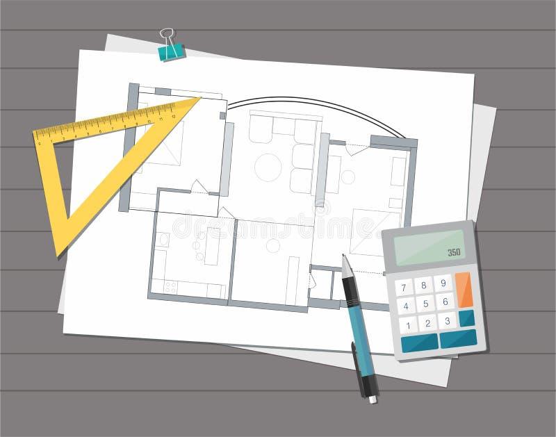 Техническая светокопия плана дома архитектора проекта башня конструкции кирпичей предпосылки иллюстрация вектора