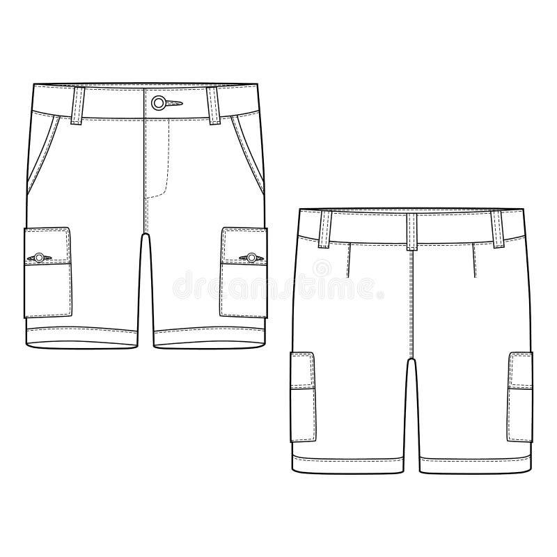 Технические брюки шортов груза эскиза конструируют шаблон иллюстрация штока